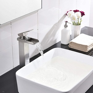 Comllen Waterfall Spout Single Handle Lever Bathroom Vessel Sink Faucet